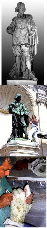 Gérard Lami - 2000-Restauration de l'original en plâtre de la sculpture de Jacques Callot-Lycée Cyflé Nancy, matrice  du bronze d'E.Laurent, 1874, située place Vaudémont Nancy 54 (reconstitution des mains manquantes par moulage élastomère avec l'aimable autorisation de la ville de Nancy)