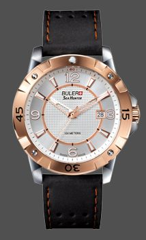 4717 Buler Sea Hunter Rose gold and stainless steel with leather band $469.99