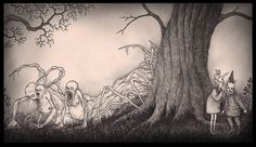 """Don Kenn (also known as John Kenn Mortensen) creates fantastical scenes of monsters entirely on Post-It notes. The artwork is inspired by Edward Gorey and Maurice Sendak's """"Where The Wild Things Are. Monster Sketch, Monster Drawing, Edward Gorey, Creepy Drawings, Creepy Art, Don Kenn, Post Its, Post It Art, Horror Themes"""