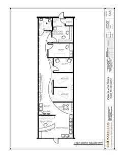 Chiropractic Floor Plan Semi-open Adjusting Retail start-up space 1367 gross sq. ft. http://www.chiropracticofficedesign.com