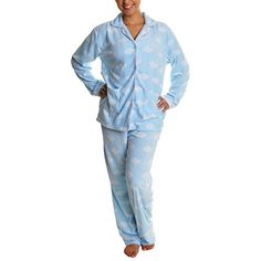 Cozy Fleece Pajama Set #91156 Cloud M. Front buttoned-down long sleeves top. Long pants with elastic drawstring waistband. 100% fleece polyester. Super soft and cozy material that is very soft against the skin. Machine wash, tumble dry low. Comes with a gift tag. Makes perfect present for teen, lady, even elderly. Also available in girls (B00H8YMFS6), boys, and mens (B00EIP4SWY) patterns and sizes.