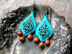 Bohemian Blue Earrings  Turquoise and Orange by 2VintageGypsies