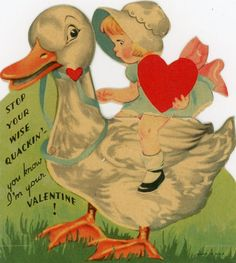"VINTAGE DIE CUT VALENTINE GREETING CARD ""STOP YOUR WISE QUACKIN"""