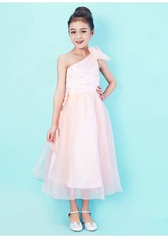 One Shoulder Tea-length Organza And Lace Junior Bridesmaid Dress 29e3ec159641