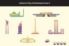 Jakarta City Icon of Indonesia 2 by sign vector Bandung City, Jakarta City, City Icon, City Illustration, Instagram Highlight Icons, Vector File, Creative Design, Random, Drawings
