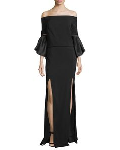 Off-the-Shoulder Bell-Sleeve Gown, Black - Rachel Gilbert