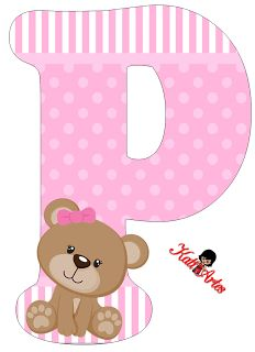 Alfabeto de tierna osita con fondo rosa. - Oh my Alfabetos! Alphabet Letters Design, Monogram Alphabet, Alphabet And Numbers, Scrapbook Bebe, Baby Shower Clipart, Baby Shawer, Bear Pictures, Kids Prints, Lettering Design