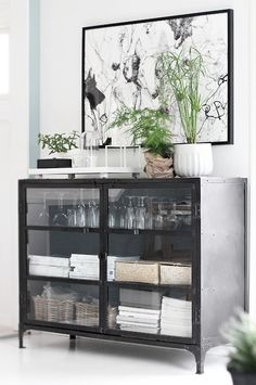 great cabinet, love the industrial metal and delicate dishes together #organization #diningroom #storage