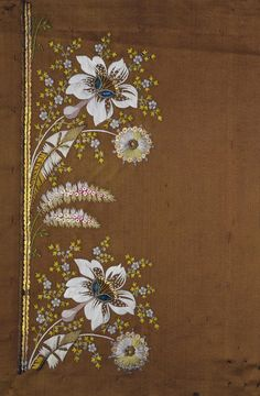 Title: Sampler for a Camisole Embroidery with a Bouquet of Flowers Motif Place of creation: France Date: 1780s Material: silk (ground), gold and silk threads, sequins, glass pieces and twist Technique: embroidery in satin and couched stitches technique Inventory Number: Т-3248