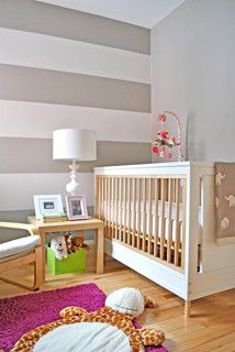 """The stripes are 13-3/4""""H. We wanted a dark stripe on both the top and the bottom of the wall that was no less than 12""""H, so we made sure that we had an uneven number of stripes and calculated accordingly. Kudos Crib Young America"""