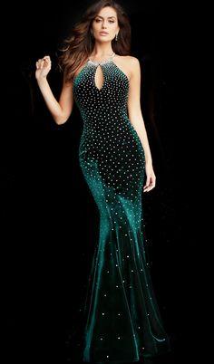 Jovani - 65312 Jewel Sprinkled Halter Cutout Velvet Gown in Green Stunning Dresses, Beautiful Gowns, Pretty Dresses, Simple Dresses, Designer Evening Gowns, Designer Dresses, Mermaid Evening Dresses, Prom Dresses, Velvet Gown