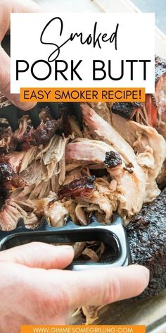 This is the easiest Smoked Pork Butt recipe that you will find! It starts with a simple homemade rub and then the pork shoulder is smoked overnight. The result is tender, juicy pulled pork that melts in your mouth. The best part about this pulled pork recipe is that you don't have to babysit your smoker! A great beginner smoker recipe for everyone. via @gimmesomegrilling Easy Homemade Recipes, Top Recipes, Yummy Recipes, Dinner Recipes, Smoker Recipes, Grilling Recipes, Grilling Ideas, Boston Butt Smoker Recipe, Pork Roast Marinade