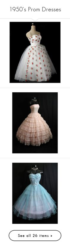 """1950's Prom Dresses"" by madi-lin ❤ liked on Polyvore featuring dresses, wedding dresses, pink party dresses, lace dress, vintage style dresses, vintage prom dresses, holiday party dresses, faux wrap dress, strapless prom dresses and vintage lace dress"