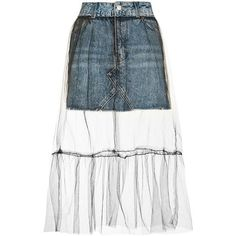 Topshop Tall Moto Tulle Overlay Denim Skirt (140 BRL) ❤ liked on Polyvore featuring skirts, topshop, tall skirts, tulle skirt, high waisted skirts, high rise skirts and knee length denim skirt