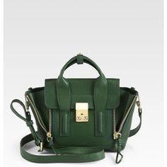 3.1 Phillip Lim Pashli Mini Shark-Embossed Leather Satchel ($720) ❤ liked on Polyvore featuring bags, handbags, apparel & accessories, mini purse, mini satchel handbags, mini satchel, embossed leather purse and green purse