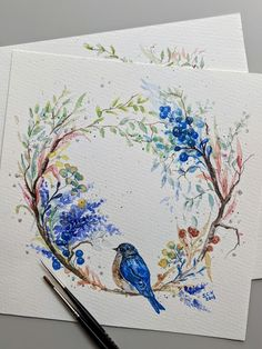 Watercolor Wreath Blue BirdYou are in the right place about little bird Here we offer you the most beautiful pictures about the bird drawing you are looking for. When you examine the Watercolor Wreath Blue Bird part of the picture you can get the m Wreath Drawing, Painting & Drawing, Painting Tattoo, Flowers Draw, Drawing Flowers, Watercolor Bird, Watercolor Paintings, Watercolor Flower Wreath, Watercolors