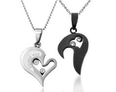 Amazon.com: Couple Stainless Steel Necklace Black & Silver Pendant I Love You Heart Shape Lover for Valentine: Clothing