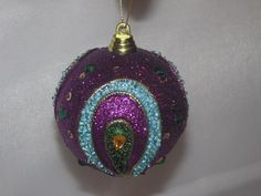 New Trimmerry Purple Glitter Peacock Ball  Christmas Ornament NWT