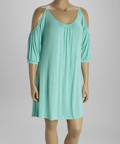 This Poliana Plus Mint Pleated Cutout Dress - Plus by Poliana Plus is perfect! #zulilyfinds