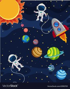 Uma cena do sistema solar Vetor Premium Solar System For Kids, Solar System Crafts, Solar System Art, Space Party, Space Theme, Art Drawings For Kids, Art For Kids, Astronaut Party, Class Decoration