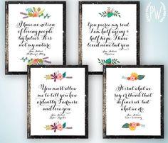 Jane Austen Quote prints printable inspirational classic literature floral quotes print wall art decor poster,
