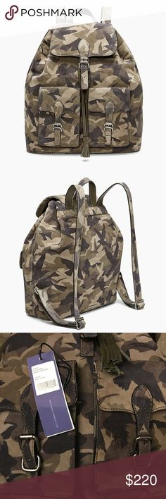 """Rebecca Minkoff Alice Backpack Crafted in luxe camo suede 13"""" W x 13.5""""H x 5.5""""D Genuine Suede Antique Silver hardware Snap closure 2 exterior front flap pockets 1 exterior back slip pocket 2 interior front slip pockets 1 interior zipper pocket Rebecca Minkoff Bags Backpacks"""