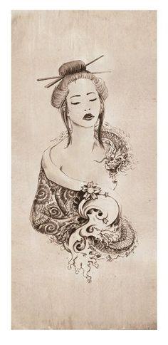MYTHOLOGY Fantasy Dragon Geisha Limited Edition by Christopher Soprano, $50.00: