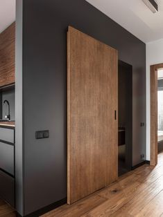 Masculine Interior Design, Apartment in Poland in Minimalist Style Sliding Door Design, Modern Sliding Doors, Sliding Door Systems, Interior Sliding Doors, Modern Wood Doors, Sliding Wall, Apartment Interior Design, Modern Interior Design, Modern Door Design