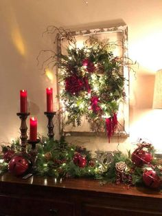 Easy DIY Christmas Decor ideas for your table mantle and wall using garland and candles. Elegant rustic farmhouse Christmas budget decor ideas for the home party or wedding. Diy Christmas Fireplace, Farmhouse Christmas Decor, Rustic Christmas, Christmas Wreaths, Christmas Crafts, Christmas Budget, Christmas Ideas, Fireplace Ideas, Christmas Island