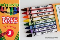 Crayon Birthday Party Invitation.  So doing this for Anneliese's 8th next year!