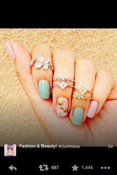 jewels rings nail polish nail accessories nails art nails mint pink seashell seashells tiger print vintage hippie native american starbucks glue on nails coffee logo