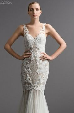 Watters - V-Neck Mermaid Gown in Beaded Lace