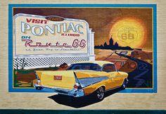 57 Chevy Route 66 Mural, Pontiac, IL, USA