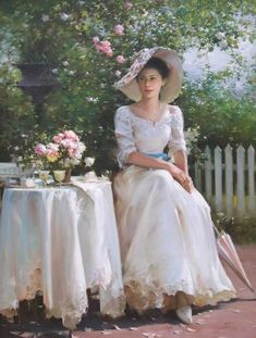 Garden Party Hat Southern Belle 52 Ideas For 2019 Romantic Paintings, Beautiful Paintings, Painted Ladies, Victorian Art, Victorian Paintings, Southern Belle, Woman Painting, American Artists, Tea Time