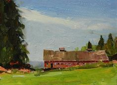 """""""The Barn by Egg and I Road oil landscape painting by Robin Weiss"""" - Original Fine Art for Sale - © Robin Weiss"""