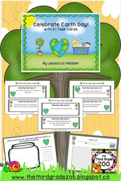 'Celebrate Earth Day with 21 Task Cards' contains 21 Earth Day related task cards and all of the supporting worksheets, graphic organizers, and activities needed to complete the tasks on the 21 task cards. Each task card includes directions for an interactive and engaging activity or includes a question that will encourage thinking about our impact as humans on our environment.