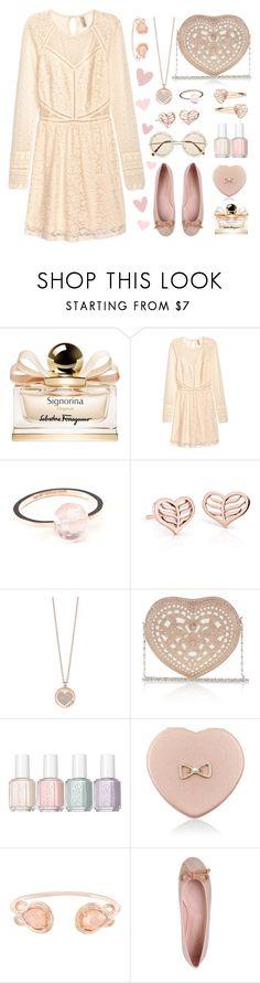 """Pink Flats"" by pink-quartz ❤ liked on Polyvore featuring Salvatore Ferragamo, H&M, Géraldine Valluet, Blue Nile, GUESS, Monsoon, Essie, Accessorize, Kendra Scott and Pretty Ballerinas"