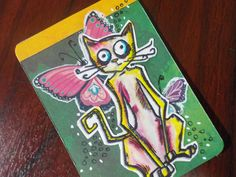 Artist Trading Card | ATC | #TimHoltz Crazy Cat