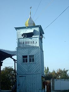 Minaret of Dungan Mosque in Karakol, famous not only by its Chinese style, but also by the fact that it's entirely from wood (and bricks) without any metal (nails).