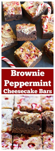 These Brownie Peppermint Cheesecake Bars are a combination of two favorite desserts with a holiday twist. Fudgy brownies topped with creamy peppermint cheesecake, yum! Easy Holiday Desserts, Winter Desserts, Holiday Baking, Christmas Desserts, Christmas Baking, Easy Desserts, Delicious Desserts, Dessert Recipes, Christmas Brownies