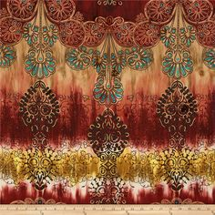 Cotton Lawn Ethnic Shimmer Rust from @fabricdotcom  This very lightweight fabric is perfect for shirts or breezy blouses! It is a finely woven and very soft and has an ultra smooth hand with metallic glitter accents.