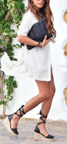 209a1f099d white shirt dress black wedge lace up espadrilles and a black clutch for a  cute summer