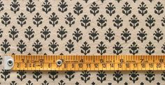 Hand Block Print, Cotton Fabric. Natural Dyes. 2½ Yards. Black & Beige $24.99