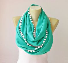 Extra long , infinity scarf with pompom trim  ,circle scarf,Loop scarf soft pashmina scarf ,CHOOSE YOUR COLOR via Etsy