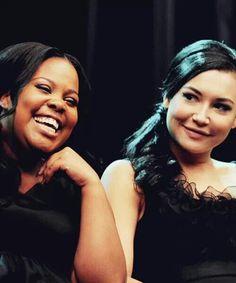 Amber Riley and Naya Rivera on set of glee.