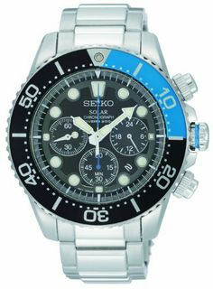 Seiko Men's SSC017 Solar Dive Chronograph Classic Solar Dive Chronograph Watch Seiko. $181.45. Water-resistant to 200 meters(660 feet). Case diameter: 43 mm. Stainless steel case. Eco-drive/solar movement. Hardlex