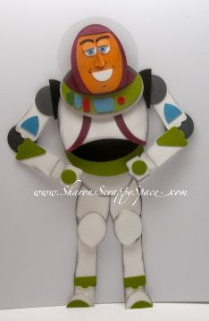 Buzz Lightyear Punch Art Video and PDF Tutorial - Sharon's Scrappy Space Paper Punch Art, Punch Art Cards, Boy Cards, Kids Cards, Disney Cards, Buzz Lightyear, Disney Scrapbook, Art For Kids, Creations