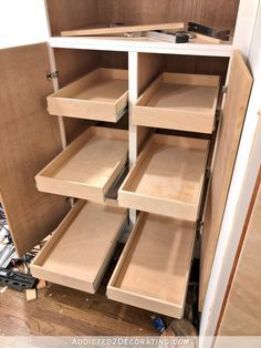 How I Built My Lower Base Cabinets And Drawers In The Pantry How I Built My Lower Base Cabinets And Drawers In The Pantry – Addicted 2 Decorating® - Kitchen Pantry Cabinets Designs Diy Kitchen Cupboards, Building Kitchen Cabinets, Kitchen Drawer Organization, Built In Cabinets, Diy Cabinets, Kitchen Redo, Kitchen Pantry, Kitchen And Bath, New Kitchen