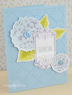 Floral Thank You Card by Nichole Heady for Papertrey Ink (July 2013)