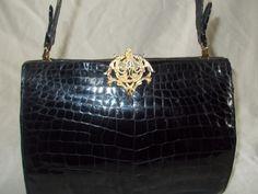Amazing 1950's black crocodile French handbag by VintageHandbagDreams on Etsy